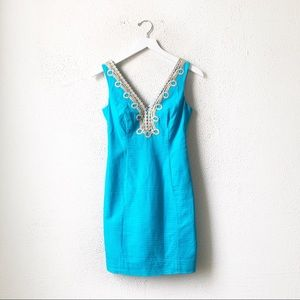 Lily Pulitzer | Light Blue and Gold Shift Dress 00